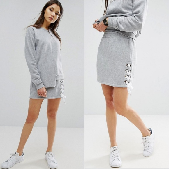 mode designer 16fe7 d03c2 Asos | Sweat Skirt with Lace Up Detail